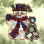 """Набор для вышивания бисером - брошь """"Снеговик с ёлочкой"""" """"Mill Hill"""" (США)"""