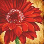 """Ткань с рисунком для вышивания бисером """"Красный цветок"""" """"МП Студия"""""""