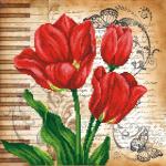 """Ткань с рисунком для вышивания бисером """"Красные маки"""" """"МП Студия"""""""