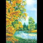 """Ткань с рисунком для вышивания бисером """"Осень во дворе"""" """"МП Студия"""""""