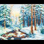 """Ткань с рисунком для вышивания бисером """"Зимний лес"""" """"МП Студия"""""""