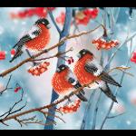 """Ткань с рисунком для вышивания бисером """"Снегири на снежной ветке"""" """"МП Студия"""""""
