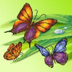 """Ткань с рисунком для вышивания бисером """"Трио бабочек"""" """"МП Студия"""""""