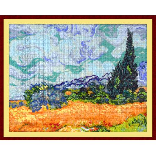 Вышивка пшеничное поле с кипарисами 79