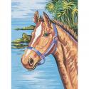 """Канва с рисунком для вышивания гобелена """"Конь"""" 40х50см """"Collection D'art"""""""