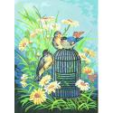 """Канва с рисунком для вышивания гобелена """"Птицы на ветке"""" 40х50см """"Collection D'art"""""""
