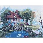 """Канва с рисунком для вышивания гобелена """"Дом у озера"""" 40х50см """"Grafitec"""" (Греция)"""