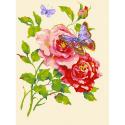 """Канва с рисунком для вышивания гобелена """"Роза и бабочка"""" 40х50см """"Collection D'art"""""""