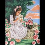 """Канва с рисунком для вышивания гобелена """"Девочка с котятами"""" 40х50см """"Grafitec"""" (Греция)"""