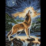 """Канва с рисунком для вышивания гобелена """"Воющий волк"""" 40х50см """"Grafitec"""" (Греция)"""