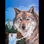 """Канва с рисунком для вышивания гобелена """"Портрет волка"""" 40х50см """"Grafitec"""" (Греция)"""