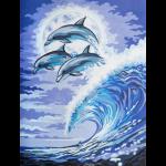 """Канва с рисунком для вышивания гобелена """"Дельфины в лунном свете"""" 40х50см """"Grafitec"""" (Греция)"""