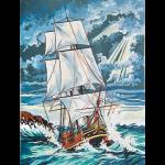 """Канва с рисунком для вышивания гобелена """"Бушующее море"""" 40х50см """"Grafitec"""" (Греция)"""