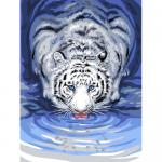 """Канва с рисунком для вышивания гобелена """"Белый тигр у воды"""" 40х50см """"Grafitec"""" (Греция)"""