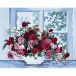"""Канва с рисунком для вышивания гобелена """"Розы у окна"""" 50х60см """"Grafitec"""" (Греция)"""