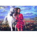 """Канва с рисунком для вышивания гобелена """"Прогулка в поле"""" 50х60см """"Collection D'art"""""""