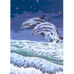 """Канва с рисунком для вышивания гобелена """"Два дельфина"""" 50х60см """"Collection D'art"""""""