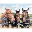 """Канва с рисунком для вышивания гобелена """"Лошади в загоне"""" 50х60см """"Collection D'art"""""""
