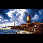 """Канва с рисунком для вышивания гобелена """"Ветряная мельница"""" 50х60см """"Grafitec"""" (Греция)"""