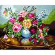 """Канва с рисунком для вышивания гобелена """"Букет цветов"""" 50х60см """"Grafitec"""" (Греция)"""