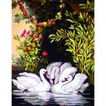 """Канва с рисунком для вышивания гобелена """"Лебединое озеро"""" 50х60см """"Grafitec"""" (Греция)"""