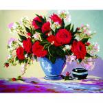 """Канва с рисунком для вышивания гобелена """"Букет алых роз"""" 50х60см """"Grafitec"""" (Греция)"""