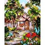 """Канва с рисунком для вышивания гобелена """"Дом среди деревьев"""" 50х60см """"Collection D'art"""""""