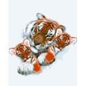 """Канва с рисунком для вышивания гобелена """"Тигриная семья"""" 50х60см """"Collection D'art"""""""