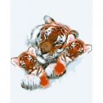 """Канва с рисунком для вышивания гобелена """"Тигриная семья"""" 50х60см """"Grafitec"""" (Греция)"""