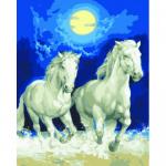 """Канва с рисунком для вышивания гобелена """"Белые лошади"""" 50х60см """"Grafitec"""" (Греция)"""