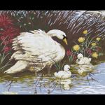 "Канва с рисунком для вышивания гобелена ""Лебедь с птенцами"" 50х60см ""Grafitec"" (Греция)"
