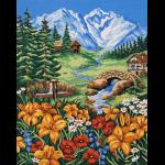 """Канва с рисунком для вышивания гобелена """"Весна в горах"""" 50х60см """"Grafitec"""" (Греция)"""