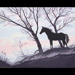"Канва с рисунком для вышивания гобелена ""Силуэт коня"" 50х60см ""Grafitec"" (Греция)"