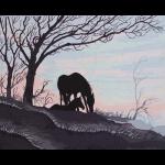 """Канва с рисунком для вышивания гобелена """"Силуэт лошади и жеребенка"""" 50х60см """"Grafitec"""" (Греция)"""