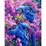 """Канва с рисунком для вышивания гобелена """"Голубые попугаи"""" 50х60см """"Grafitec"""" (Греция)"""