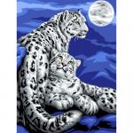 """Канва с рисунком для вышивания гобелена """"Снежные леопарды"""" 50х60см """"Grafitec"""" (Греция)"""