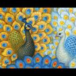 """Канва с рисунком для вышивания гобелена """"Экзотические павлины"""" 60х80см """"Grafitec"""" (Греция)"""