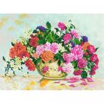 """Канва с рисунком для вышивания гобелена """"Розы в вазе"""" 60х80см """"Grafitec"""" (Греция)"""