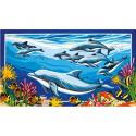 """Канва с рисунком для вышивания гобелена """"Дельфины"""" 60х80см """"Collection D'art"""""""