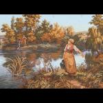 """Канва с рисунком для вышивания гобелена """"Водный карьер"""" 60х90см """"Grafitec"""" (Греция)"""
