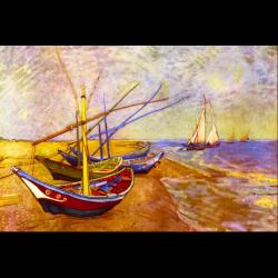 """Канва с рисунком для вышивания гобелена """"Лодки в Сен-Мари. Ван Гог"""" 60х90см """"Grafitec"""" (Греция)"""