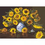 """Канва с рисунком для вышивания гобелена """"Подсолнухи в голубой вазе"""" 60х90см """"Grafitec"""" (Греция)"""