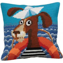 """Набор для вышивания Подушка """"Моряк на палубе"""" 40х40см """"Collection D'art"""""""