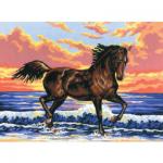 """Канва с рисунком для вышивания гобелена """"Лошадь"""" 30х40см """"Grafitec"""" (Греция)"""
