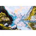 """Канва с рисунком для вышивания гобелена """"Горное озеро"""" 30х40см """"Collection D'art"""""""