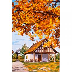 """Канва с рисунком для вышивания гобелена """"Осень за городом"""" 30х40см """"Grafitec"""" (Греция)"""