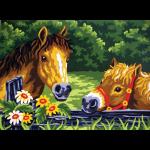"""Канва с рисунком для вышивания гобелена """"Любопытные пони"""" 30х40см """"Grafitec"""" (Греция)"""