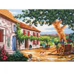 """Канва с рисунком для вышивания гобелена """"Домик в Тоскане"""" 30х40см """"Grafitec"""" (Греция)"""