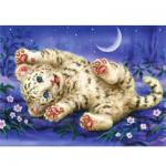 """Канва с рисунком для вышивания гобелена """"Счастливый тигрёнок"""" 30х40см """"Grafitec"""" (Греция)"""