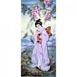 """Канва с рисунком для вышивания гобелена """"Японка"""" 30х60см """"Collection D'art"""""""